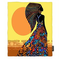 Beautiful African woman in a bright dress against the background of a conventional African landscape Beautiful African Women, African Beauty, Beautiful Black Women, African Fashion Traditional, African Art Paintings, Bright Dress, Africa Art, African Girl, Black Women Art