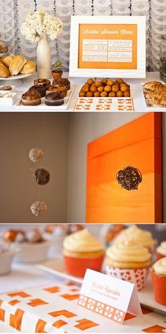 Cute orange-themed bridal shower menu