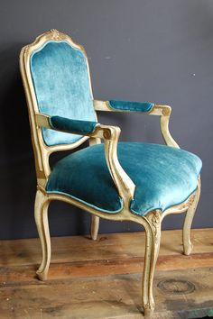 vintage peacock blue velvet louis xv fauteuil chair
