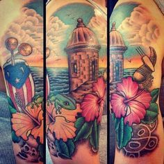 Puerto Rican tattoo of El Morro with hibiscus flower