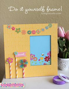 Easy DIY Frame made with Party with Amy Locurto from Pebbles Scrapbook Collection.