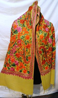 Crewel Embroidered Shawl. color Wool Stole with Kashmir Embroidery. India #ShawlWrap