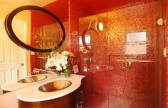 Glass Shower Door Fits Well in Modern Bedroom Design : Vivid And Vivacious Bath Uses Red Tiles And Glass Shower Doors To Create An Asian Styled Bath Modern Sink, Modern Baths, Modern Glass, Bathroom Red, Bathroom Images, Bathroom Vanities, Bathroom Interior, Red Interior Design, Mid Century Modern Bathroom