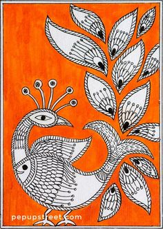 Pep Up Street - Orange Peacock Madhubani Mithila Painting Madhubani Paintings Peacock, Kalamkari Painting, Madhubani Art, Indian Art Paintings, Worli Painting, Fabric Painting, Bordados E Cia, Indian Folk Art, Art N Craft
