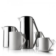 Press Pot collection from Menu A/S.  Design by Aurelien Barbry.  Elegant French press coffee pot, creamer/sugar bowl and cup & saucer.