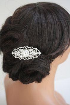 Art Deco Bridal Hair Comb, Filigree Wedding Comb, Vintage Wedding Hair Accessories, Pearl and Rhinestone Hair Piece. BELLA 2