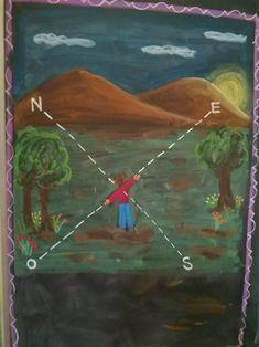 Andréa Rodrigues - Geografia 4o ano Waldorf Waldorf Math, Waldorf Curriculum, Waldorf Education, School Grades, 5th Grades, First Grade, Third Grade, Chalkboard Drawings, Miniature Quilts