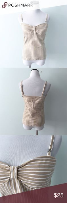 "JONES NEW YORK Tan white striped Tank Top Built in shelf bra. Tan and white striped Tank Top. Adjustable straps. Length 16.25"". Cotton and spandex. Jones New York Tops Tank Tops"