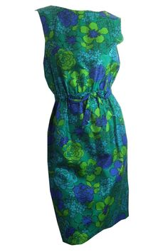 vintage Bright Green and Blue Floral Silk 1960s Dress by DorotheasCloset