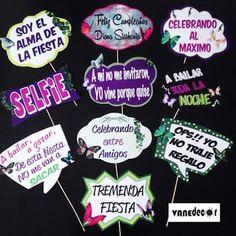 Props para unos 15 años, tematicos #props#propsphotobooth#mariposas#photobooth#mariposasparty#15años#15primaveras#party#evento#fiesta#vanedecor#valencia#Venezuela Neon Party, Fiesta Party, I Party, Party Time, 26th Birthday, Birthday Parties, Happy Birthday, Ideas Aniversario, Fiesta Decorations