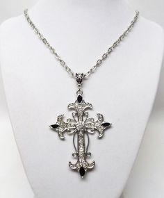 Silver & Clear Crystal Rhinestones Cross Pendant Necklace #Handmade #Pendant