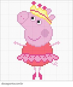 Peppa Pig perler bead pattern Cross Stitch For Kids, Cross Stitch Baby, Cross Stitch Charts, Cross Stitch Patterns, Hama Beads Design, Hama Beads Patterns, Beading Patterns, Cross Stitching, Cross Stitch Embroidery