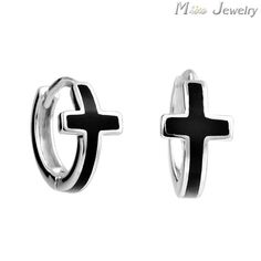 Free Shipping Fashion 925 Sterling Silver Cross Clip Earrings Jewelry For Women Men Pendientes Brincos