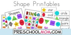 Free Shapes Printables from Preschool Mom!  Wordwall Cards, Classroom Charts, Bingo Games, Minibooks, Sequencing Games, File Folder Games, Bookmarks and more!