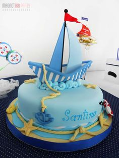 Nautical Cake, love the waves Pretty Cakes, Cute Cakes, Nautical Cake, Nautical Party, Sailboat Cake, Fondant Cakes, Cupcake Cakes, Cupcakes Decorados, Sea Cakes