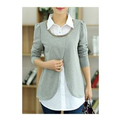 Turndown Collar Grey Faux Two Piece Blouse ($30) ❤ liked on Polyvore featuring tops, blouses, grey, collar top, gray top, sleeve blouse, long sleeve tops and mixed print top