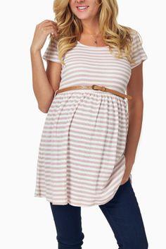 Pink-White-Striped-Belted-Maternity-Tunic #maternity #fashion