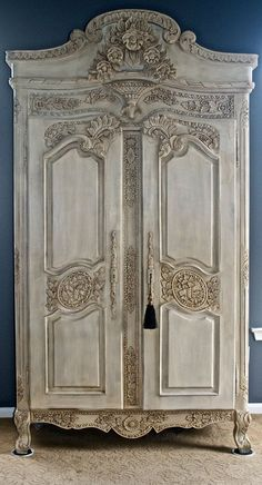 Stunning Antique Armoire hand painted and waxed