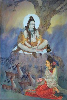 Parvati worshipping Lord Shiva in creative art painting Shiva Shambo, Shiva Yoga, Shiva Parvati Images, Shiva Statue, Shiva Art, Krishna Art, Hindu Art, Radhe Krishna, Om Namah Shivaya