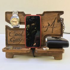 Items similar to Charging station iPhone organizer Night stand iPhone Glasses holder,Dock station phone stand,PERSONALIZED gift for guys on Etsy Diy Wooden Crate, Wooden Crates, Desk Organization Diy, Diy Desk, Diy Storage Bench Seat, Iphone Docking Station, Wooden Organizer, Diy Furniture Redo, Iphone Holder