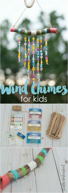 DIY Wind Chimes For Kids: Step by Step - Consumer Crafts Keep the kids busy this summer with a fun craft project. Learn how to make DIY wind chimes for kids with this step by step tutorial! Summer Crafts For Kids, Diy Crafts For Kids, Projects For Kids, Craft Projects, Summer Ideas, Camping Crafts For Kids, Craft Ideas For Girls, Kids Nature Crafts, Crafts For Children