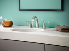 Moen Oxby Spot Resist Brushed Nickel Widespread WaterSense Bathroom Faucet  (Drain Included) At Loweu0027s. This Elegant, Sculpted Moen Bathroom Faucet  From The ...