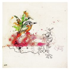 Hummingbird - 2009   zeroe.at Hummingbird, Rooster, Ink, Watercolor, Animals, Pen And Wash, Watercolor Painting, Animales, Animaux