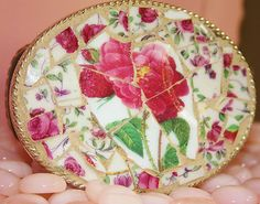 $75 So pretty!  China Mosaic belt buckle by Fine China Mosaics.
