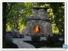 unique stone fireplace