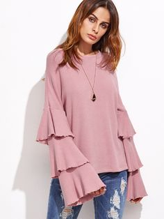 Pink+Layered+Bell+Sleeve+Ribbed+Top+29.00
