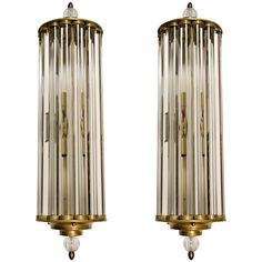 "Pair of 1940s Italian wall lights signed ""Venini"" 