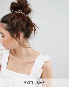 """Золотистая металлическая заколка для волос со шпилькой и отделкой в виде надписи """"Love"""" Orelia"""