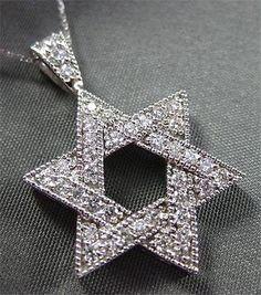 ESTATE LARGE .65CT DIAMOND 14KT WHITE GOLD STAR OF DAVID PENDANT & CHAIN #2250