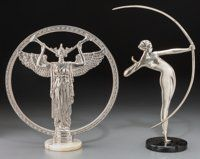 Two Art Deco Silvered Metal Sculptures: Athena, Female Bow Hunter, circa 1930 19-