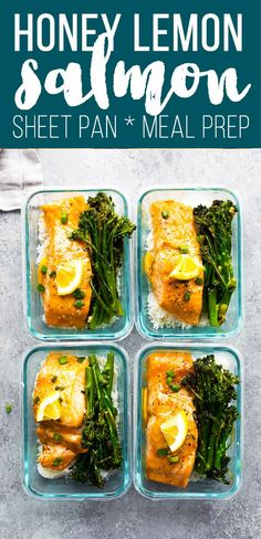 A simple honey lemon salmon recipe baked up on a sheet pan with broccolini. Serve over rice and drizzle with the honey lemon sauce. Makes a great meal prep lunch. Honey lemon salmon dinner, salmon sheet pan dinner, salmon sheet pan recipe. #sponsored #sweetpeasandsaffron #salmon #mealprep #glutenfree #sheetpan