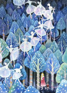 Christmas Forest scene for The Nutracker by Lucy Koo, via Behance