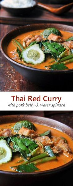 Thai Red Curry recipe with pork belly, kaffir limes, and water spinach… Thai Curry Recipes, Asian Noodle Recipes, Asian Recipes, Paleo Recipes, Paleo Meals, Red Curry Recipe, Pork Belly Slices, Water Spinach, Pork Belly Recipes