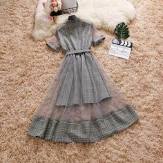 Mock Two-Piece Grid Summer Dress Cute Casual Outfits, Pretty Outfits, Pretty Dresses, Mode Kpop, Gauze Dress, Mesh Dress, Looks Chic, Lolita Dress, Skirt Outfits