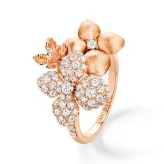 Hortensia Astres d'or brushed rose gold and diamond ring