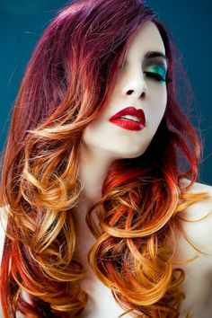 red to yellow ombre hair