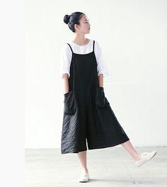 black braces pants women wide leg linen summer pants by ideacloth, $58.00