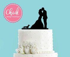 Coppie che baciano con bassotto cane acrilico Wedding Cake