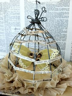 Items similar to Caged Grace-Altered book Art birdcage Sculpture-Found words-Marah JOhnson-OOAK on Etsy Paper Book, Paper Art, Altered Book Art, Bird Cages, Artist Trading Cards, Handmade Books, Wire Art, Mixed Media Art, Sculpture Art