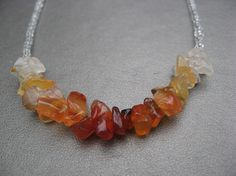 Carnelian necklace brown, orange, yellow: DISAPPEARING DARKNESS handmade beaded necklace