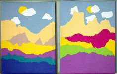 torn paper landscapes - simple art with paper and glue. love these!