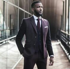 Men's eggplant three piece suit