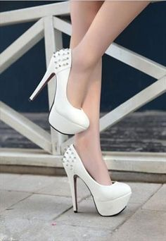 Just Me D WHITE HEELS WITH STUDS 8599 |White Heels|