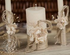 Personalized Wedding Candle Unity Ceremony Pillar Candle Rustic Unity Candle Set Rustic Wedding Lace and Pearl Burlap Flower Ivory Wedding Unity Candles, Rustic Candles, Wedding Ceremony Flowers, Pillar Candles, Unity Ceremony, Wedding Colors, Rustic Lanterns, Diy Candles, Lace Candles