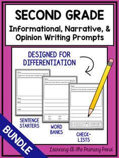 These Spanish writing prompts for first grade are designed to help you differentiate during writing time! Each of the 60 prompts comes with several graphic organizers, many options for drafting paper (with built-in scaffolds), and publishing& draft paper. Second Grade Writing Prompts, Narrative Writing Kindergarten, Narrative Writing Prompts, Literacy, Writing Workshop, Writing Papers, Workshop Ideas, Teaching Writing, Transition Words