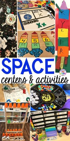 Space Math and Literacy Center for preschool, pre-k, and kindergarten Space Theme Classroom, Space Theme Preschool, Space Activities For Kids, Preschool Science, Summer Themes For Preschool, Planets Preschool, Daycare Themes, Science Fun, Planets Activities